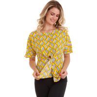 Blusa Kinara Estampada Com Faixa Na Cintura Amarelo