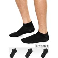 Kit 3Pçs Meia Adidas Performance Label Ankle Low Preto