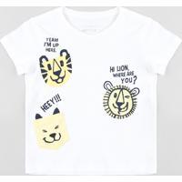 Camiseta Infantil Com Estampa Interativa De Bichos Manga Curta Gola Careca Branca