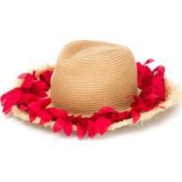 Monnalisa Chapéu De Palha Com Aplicação Floral - Neutro