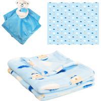 Manta Com Naninha Para Bebê - Principe Azul - Unik Toys