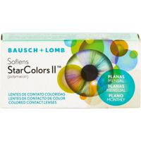 Lente De Contato Soflens Starcolors 2 Mensal Sem Grau Azul Plano