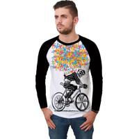 Camiseta Ramavi Raglan Bike Manga Longa - Branco - Masculino - Dafiti