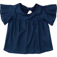 Blusa Com Recorte Vazado- Azul Marinhopuc