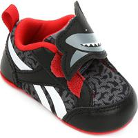 Tênis Infantil Reebok Velcro Tubarão Vtrflex Critter - Masculino-Preto+Vermelho