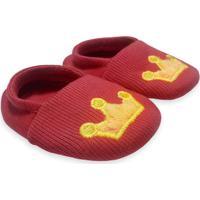 Sapato Bebê Bordado Coroa Amarela Isabb Vermelho