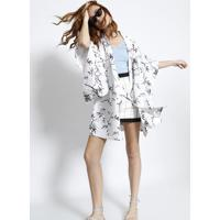 Kimono Com Linho Bamboo- Branco & Pretolez A Lez