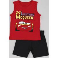 Conjunto Infantil Relâmpago Mcqueen Carros De Regata Vermelha + Bermuda Em Moletom Preta