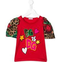 Dolce & Gabbana Kids Puffer Sleeve T-Shirt - Vermelho