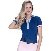 Camisa Polo Principessa Nicole - Feminino-Marinho