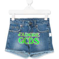 Gcds Kids Short Jeans Com Estampa De Logo - Azul
