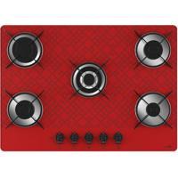 Cooktop Casavitra 5 Bocas Tripla Chama Tetris - Vermelho