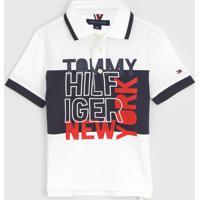 Camisa Polo Tommy Hilfiger Kids Infantil Lettering Branca - Branco - Menino - Algodã£O - Dafiti