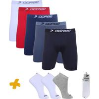 3a5fea19fe1e84 Kit Cuecas Long Leg + Pares De Meia Sport Dorbe - Masculino-Branco+Azul