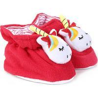 Pantufa Infantil Pimpolho Recém Nascido - Feminino-Vermelho