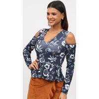 Blusa Com Ombros Vazados- Azul Marinho & Branca- Tritriton