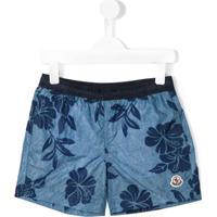 Moncler Kids Shorts De Natação Com Estampa Floral - Azul