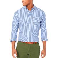 Camisa Tommy Hilfiger Masculina Classic Fit Trey Stripe Azul