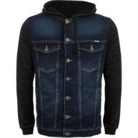 Jaqueta Jeans Brix Mangas Moletom E Capuz Masculina - Masculino-Azul