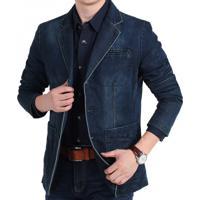 Blazer Jeans Masculino - Azul Escuro Xg
