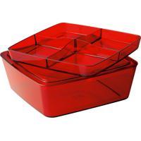 Caixa Organizadora Multiuso Com 5 Divisórias, Design Retro, Vermelh.