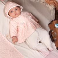 Saída De Maternidade Fofinho Feminina Com Renda E Capuz Rosa