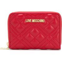 Love Moschino Carteira Matelassê Com Logo - Vermelho