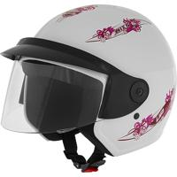 Capacete Aberto Mixs Up For Girls 56 Engate Rápido Branco
