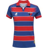 Camisa Do Fortaleza Tradição I 2019 Nº 18 Leão - Feminina - Azul/Vermelho