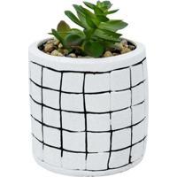 Vaso Decorativo Médio Com Suculenta Artificial Mod