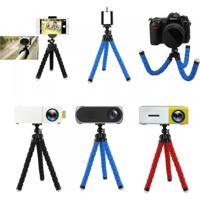 Mini Tripé Portátil Compatível Para Câmera Projetora Suporte Para Celular - Azul
