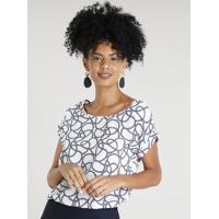 cca37159785 CEA  Blusa Feminina Estampada De Corda Manga Curta Decote Redondo Branca