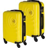 Conjunto De Malas De Viagem Em Abs Star Yin'S Cadeado Embutido Rodas Giro 360º 2 Peças Amarela