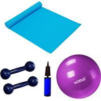 Kit Pilates Com Bola 55 Cm + Mini Bomba + Colchonete + 2 Halteres 1Kg Liveup - Unissex