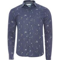 Camisa Masculina Buquê - Azul