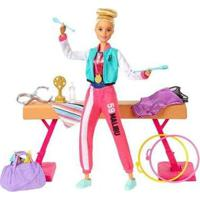 Boneca Barbie Profissões Set Ginasta Com Acessórios - Feminino-Rosa