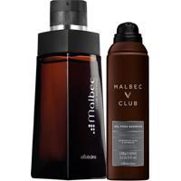 Combo Malbec Club Intenso: Des. Colônia + Gel Espuma Para Barbear