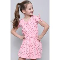 Vestido Infantil Estampado Floral Com Botões Manga Curta Rosa