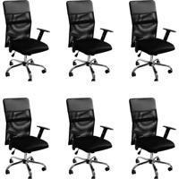 Conjunto Com 6 Cadeiras De Escritório Diretor Giratória Com Braços Ajustáveis Vancouver Ii Preto
