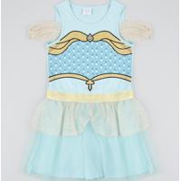 Vestido Infantil Carnaval Jasmine Com Glitter E Tule Azul Claro