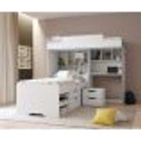 Beliche Office New Com Gavetas E Mesa De Cabeceira Branco
