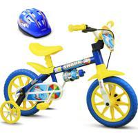 Bicicleta Nathor Criança De 3 A 5 Anos Aro 12 Shark Com Capacete