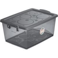 Caixa Organizadora Com Trava- Cinza Escuro- 15L-Ordene