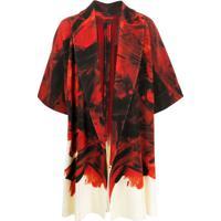Homme Plissé Issey Miyake Kimono Canelado Com Estampa Abstrata - Vermelho
