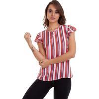 Blusa Chifon Listrada Faixa Kinara Feminina - Feminino-Laranja