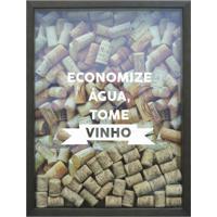 Quadro Porta Rolhas De Vinho Economize Água 32X42 Cm Betume