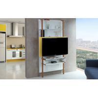 Painel Para Tv Branco Com Amarelo - Painel Tv Sala - Estante Para Tv Até 42 Polegadas Karl Woodinn - 99,8X25,5X180 Cm
