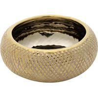Vaso Decorativo Texturizado- Bege & Dourado- 8Xã˜19Cmrojemac