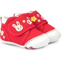 Miki House Sapato First Bunny - Vermelho