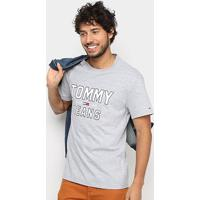 Camiseta Tommy Jeans Logo Retrô Masculina - Masculino-Cinza